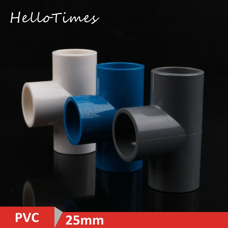 2pcs 25mm PVC Tee connector Garden Irrigation three Way Joints PVC Pipe Adapter Aquarium Water Pipe T Connector image