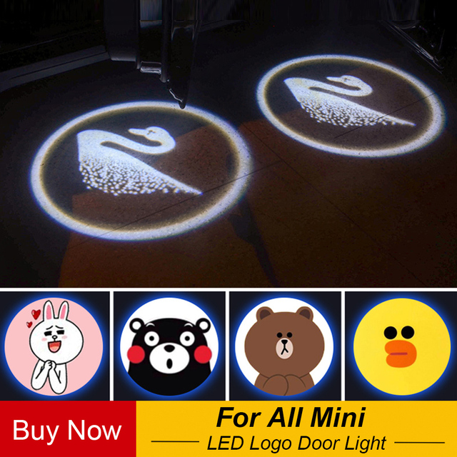 2pcs Cartoon Wireless Car Shadow Door Light Laser Projector Logo Led Welcome Lamp For Mini Cooper Jcw Styling Accessories