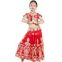 Sarees India Traditional Lehenga Choli Children Costume Ethnic Style Performance Girl Dance Gorgeous Suits top+skirt+scarf+pants