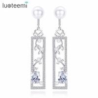 LUOTEEMI Brand Elegant Delicate Geometic Flower Shape Clear Imitation Pearl CZ Drop Earrings Gift For Girl