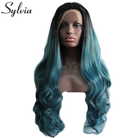Sylvia Mixed Blue Ombre Body Wave Synthetic Lace Front Wigs With Dark Roots Black Blue Hairstyle
