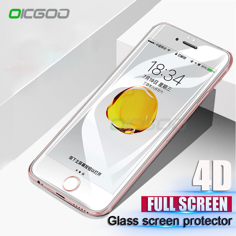 OICGOO 4D <font><b>Curved</b></font> Edge <font><b>Full</b></font> Cover <font><b>Tempered</b></font> <font><b>Glass</b></font> For iPhone 8 7 6 6s Plus Premium <font><b>Screen</b></font> <font><b>Protector</b></font> Film For iphone 7 8 Plus <font><b>Glass</b></font>