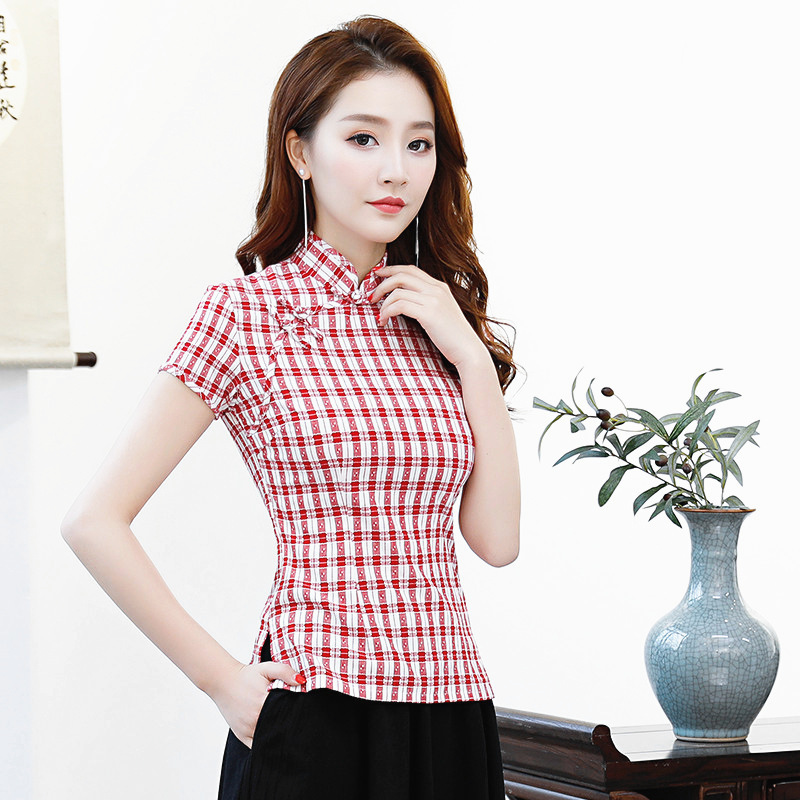 New Summer Women's Shirt Flowers Top Vintage Chinese style Lady Blouse Short Sleeve Button Mujer Camisa Tops S M L XL XXL XXXL