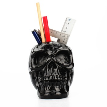 3D Skull Head Figurine Skeleton Ornament Stationery Holder Makeup Storage Container Flower Pot Jewellery Box Statues Sculptures 1