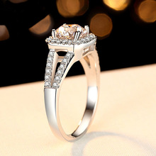 TOP Quality CZ Stone Hearts and Arrows Cut Ring Engagement Solid 925 Sterling Silver Jewelry Proposal Gift for Lover