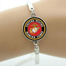 Wedding hand accessory military bracelet  Fashion Jewelry Round Charms Glass US Marine Corps jewelry for man and women  MI049
