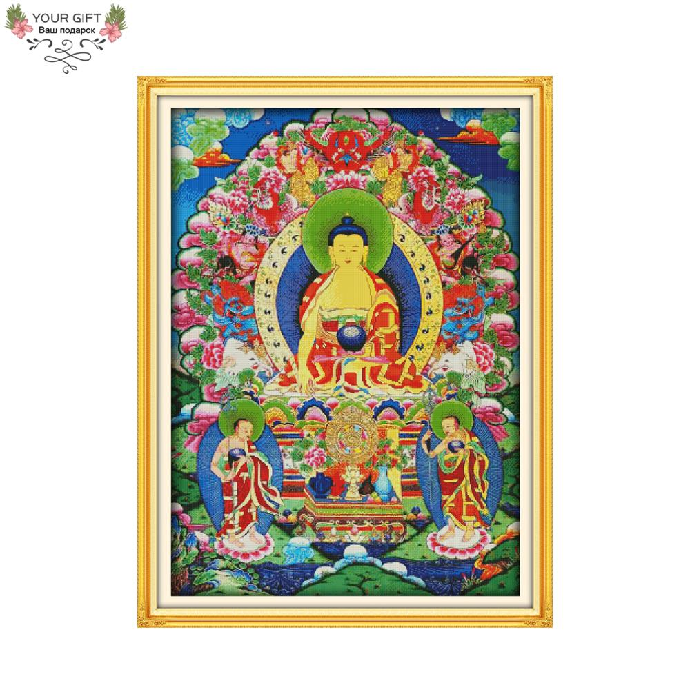 Joy Sunday R799 Free Shipping 14CT 11CT Counted and Stamped Home Decor The Thangka Needlepoints Embroidery