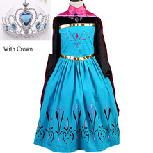 2016 new girls dress Elsa Dress Custom Cosplay Summer Anna Girls Dresses Princess Elsa Costume for Children dress+crown 2piece
