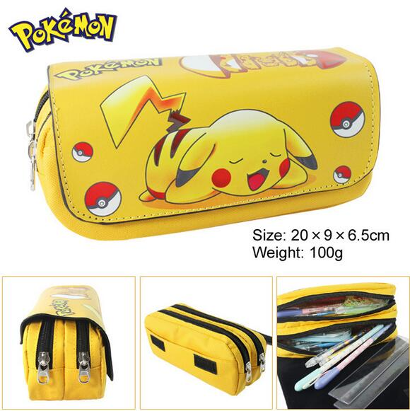 Pikachu Stationery bags Pouch Zipper Pencil Anime Cartoon Zipper Bag