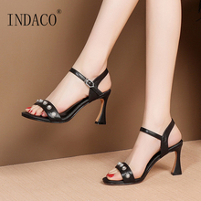 Sandals Women Summer Shoes Footwear Sexy Patent Leather Rivets Thick Heel