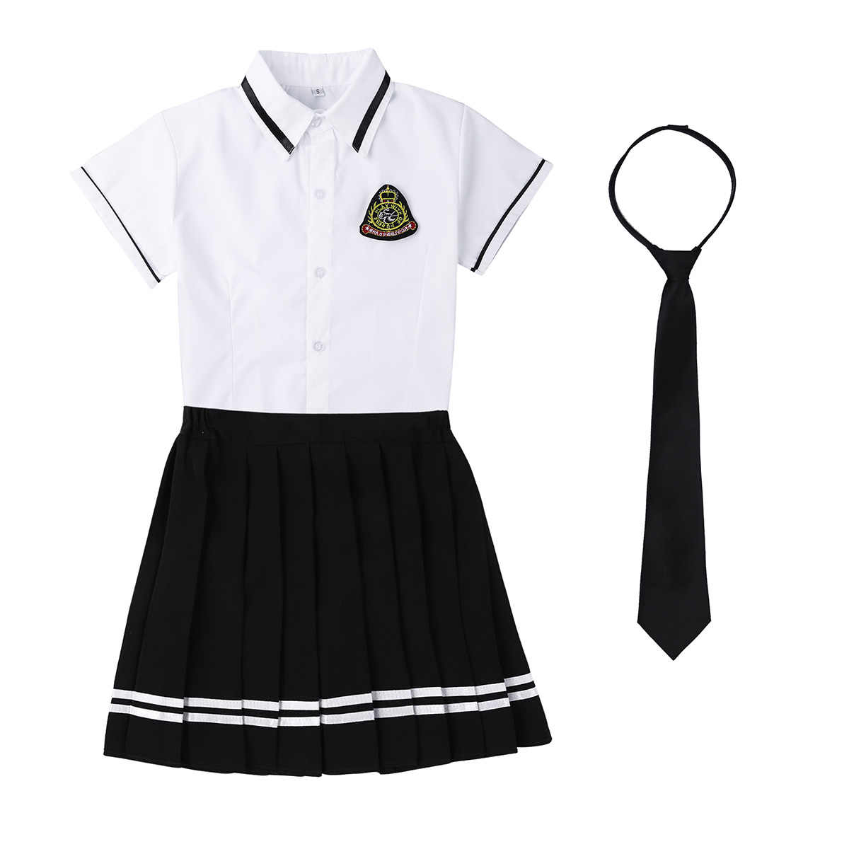 ce25bac30c25 TiaoBug Japanese School Girl Uniform Suit White Short Sleeve T-shirt Top Pleated  Skirt Cosplay .