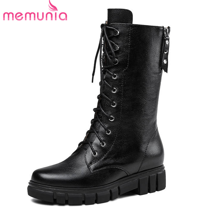 MEMUNIA 2018 new arrival genuine leather ankle boots for women lace up +zipper fashion autumn boots round toe dress shoes woman morazora 2018 new arrival genuine leather ankle boots for women lace up zipper autumn boots fashion punk shoes woman black