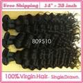 "Ring Hair 14""-28"" 100% Brasileira Virgem Cabelo Humano Hair Extensions, Culry, Natural Color 1b#, 95-100g/ Bundle Free Shipping"