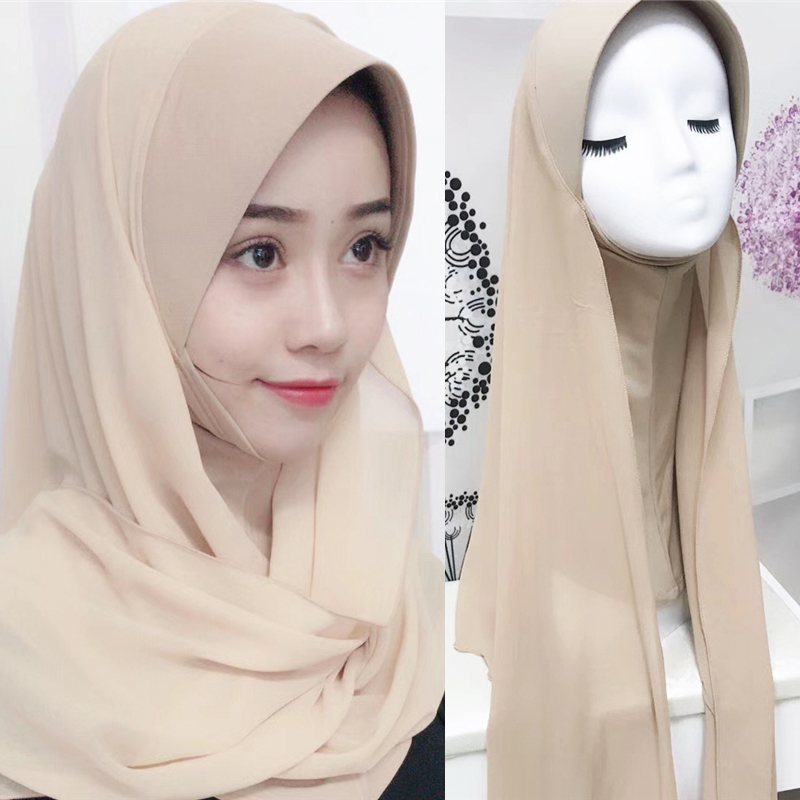 New Arriva Lady Ethnic Style Shawl Scarfs Soft Thin Summer Plain Headwear Hard Cap Chiffon Stitching Muslim Women Hijab Scarf