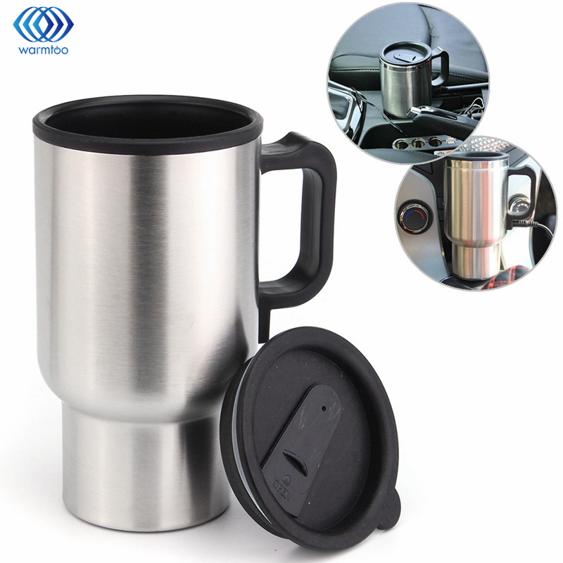 Car Hot Kettle 450ml Vehicle Mounted Thermal Travel Cup Handy Cup thermostat Bottle Coffee Heated Mug Water Heater 12V 348ml car heating cup stainless steel dc12v car heated travel mug thermos heating cup kettle car coffee cup auto adapter