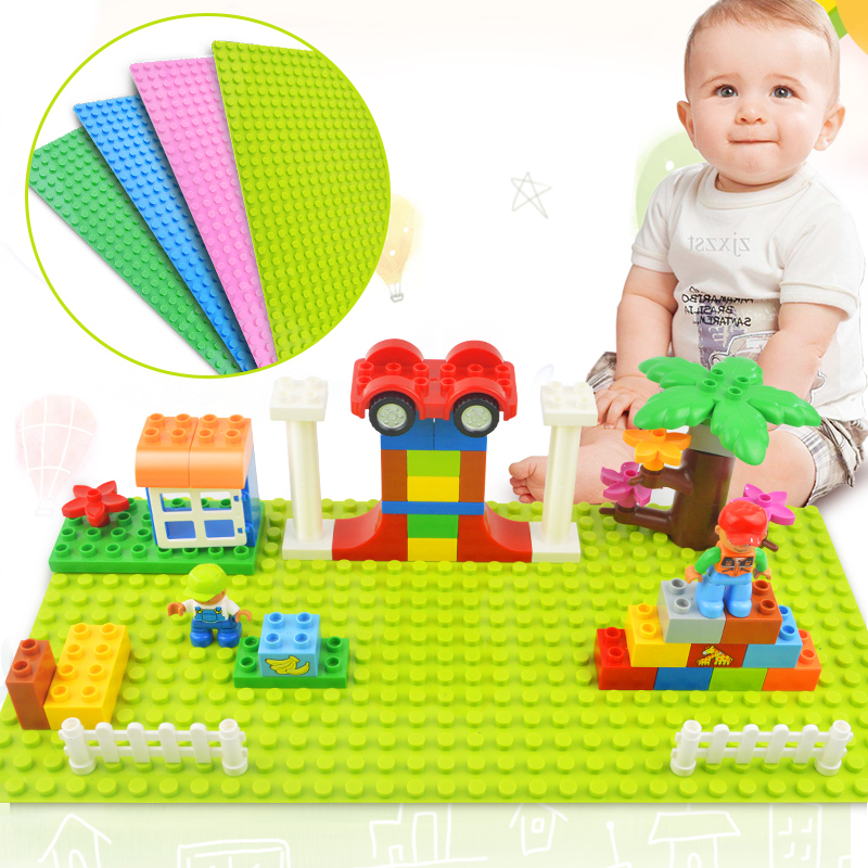 Tumama Big Size Blocks Base Plate 32*16 Dots 51*25.5 cm Baseplate DIY Building Blocks Toys For Children Compatible Legoed Duplo ynynoo new 32 32 dots not easy to break dots small blocks base plate building blocks diy baseplate compatible major brand blocks