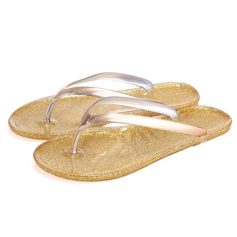 718997cc808a Frauen Schuhe Hausschuhe Mode Designer Strand Flip Flops Damen 2017 Sommer  Flachen Sandalen Dusche Rutschen Gelee sandalen Gold in Frauen Schuhe  Hausschuhe ...