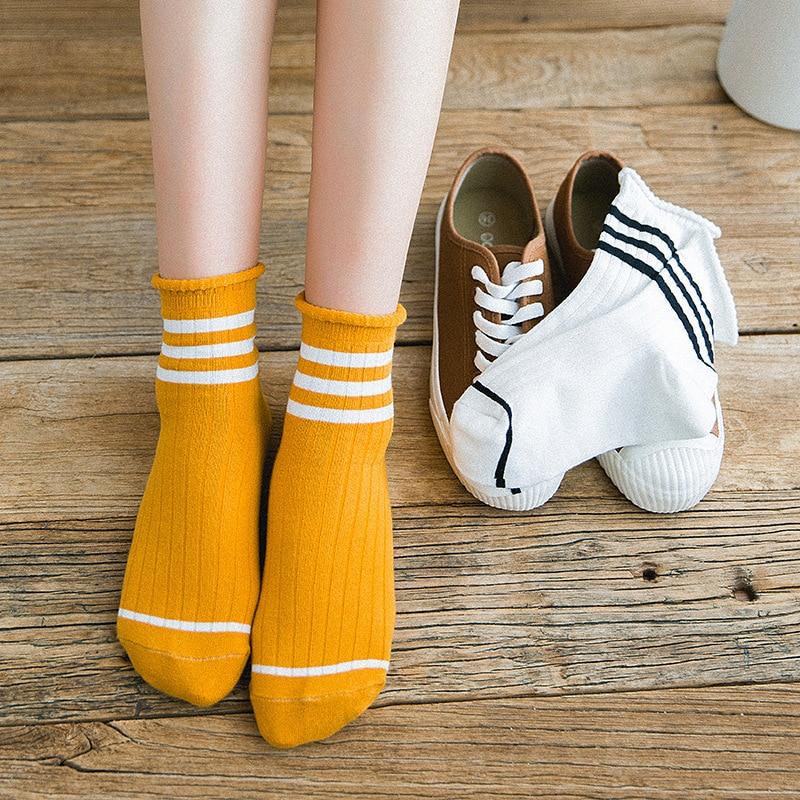 Women socks Japanese Korean cute striped cotton sock fashion streetwear Funny Female Socks woman short sport sokken calcetines in Socks from Underwear Sleepwears