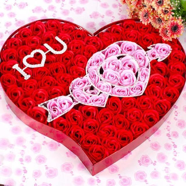 Love Heart Through Soap Flower Gift Box Romantic Tanabata Day
