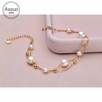 Aazuo Natural Cultured Freshwater Pears 4.5 5 6 6.5mm Real 18K Yellow Gold Charm Bracelet Banglesgifted for Women Au750
