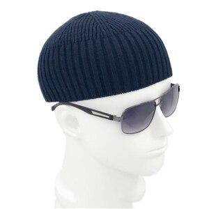Image 3 - Chapéu masculino casual, chapéu de malha de lã sem aba cinza retrô vintage 904 897