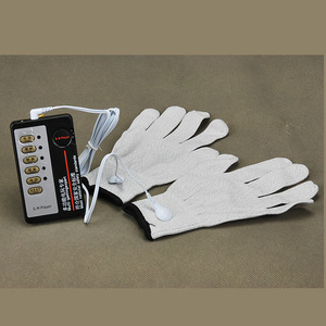 Image 1 - Electrical Shock Silver Fiber Therapy Massage Electrode Glove Electro Shock Gloves Electricity Conductive Gloves Medical Sex Toy