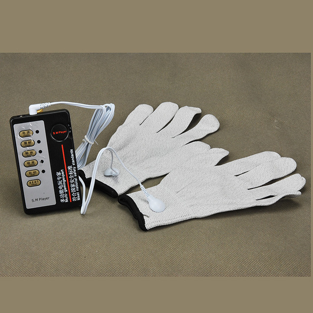 Electrical Shock Silver Fiber Therapy Massage Electrode Glove Electro Shock Gloves Electricity Conductive Gloves Medical Sex Toy