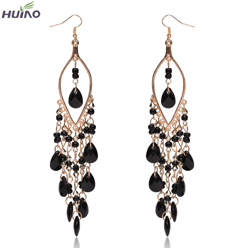 Bohemian Drop Earrings för kvinnor Lyx Crystal Charm Hook Eardrop Populära Trendiga Dangle Earring Jewellry Hänge Gratis frakt