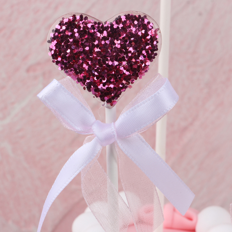 Image 5 - 5 pcs/lot pink star heart crown birthday cake topper cupcake decoration baby shower kids birthday party wedding favor supplies-in Cake Decorating Supplies from Home & Garden