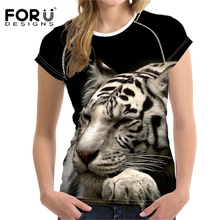FORUDESIGNS T Shirt Women T-shirt 3D Animal Printing Leopard Tiger t-shirt Womens Casual Cool t shirt K-pop Fashion XXL