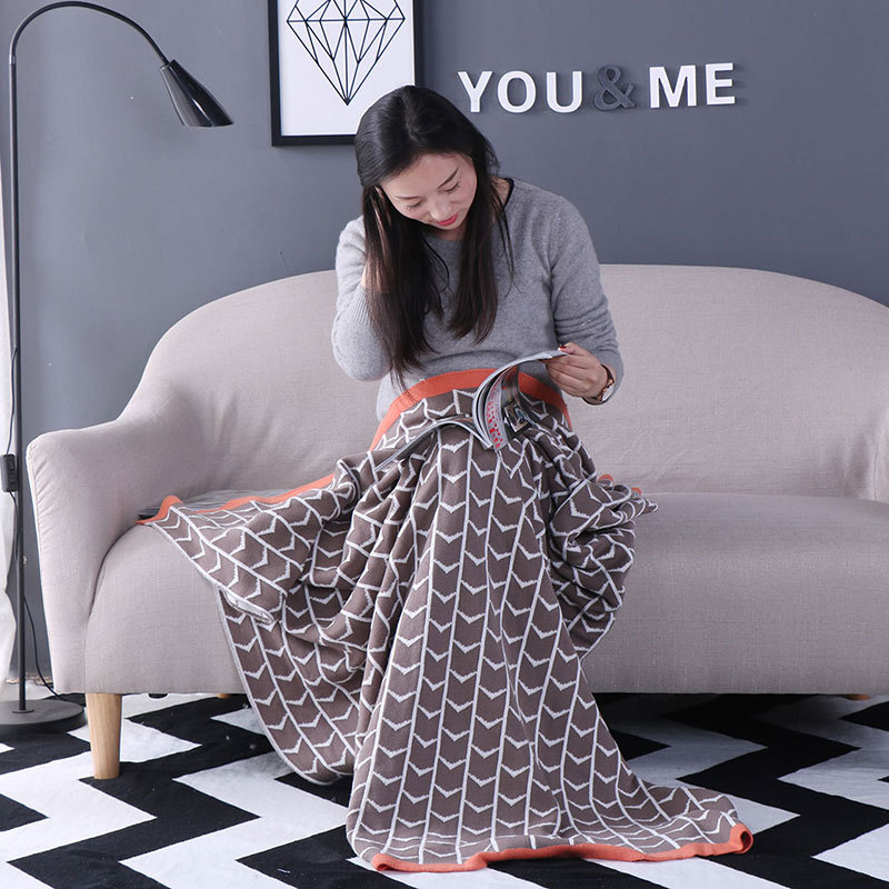 Minimalist Square Cotton Knitting Wool Blanket 150cmx200cm Office Nap Air Conditioning Cover Blankets Sofa/bed/home Blanket