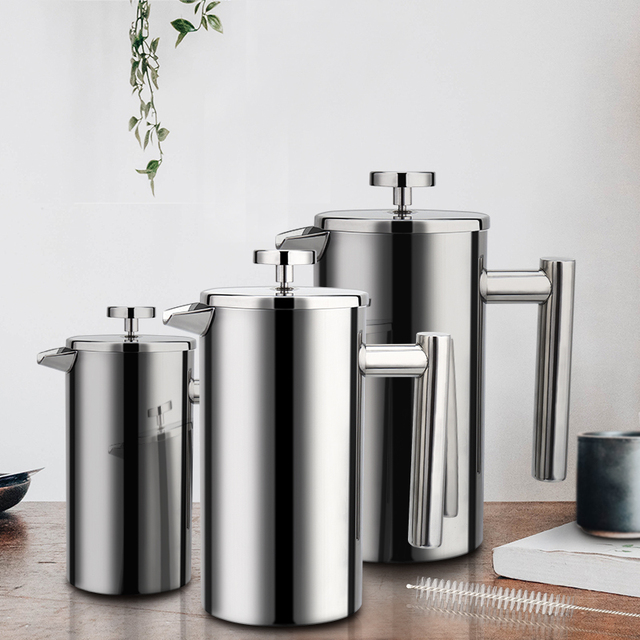 Coffee Maker French Press Stainless Steel Espresso Coffee Machine High Quality Double-Wall Insulated Coffee Tea Maker Pot 1000ml 5