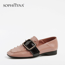 SOPHITINA Hot Sale Loafers Women Flats Spring Handmade Patent Leather Shoes Elegant Fashion Slip-On Rivet Solid Lady PO54