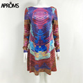 Aproms 2017 Retro Multi colored Dress Women Casual 80s Loose long sleeved mini T shirt dresses plus size Lady vestido ropa mujer