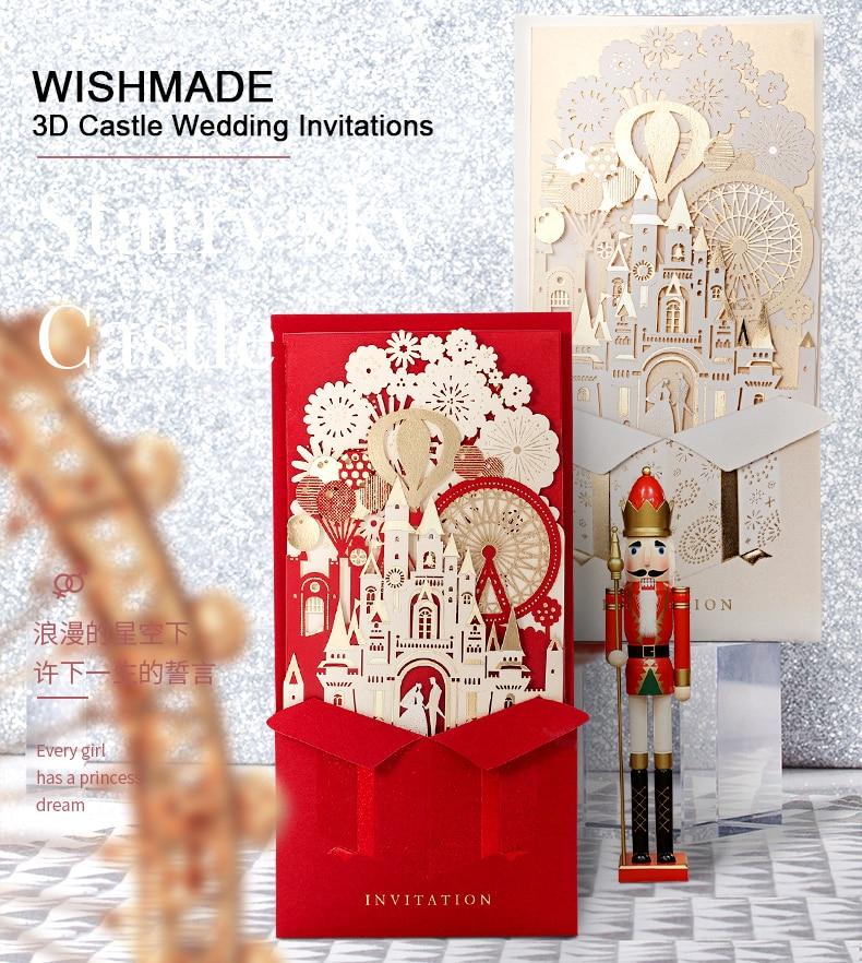 Wishmade 3D Rosso Inviti di Nozze Carte di Taglio Laser Con La Sposa e Lo Sposo Castello di Nozze del Matrimonio CW5073-in Biglietti e inviti da Casa e giardino su  Gruppo 3