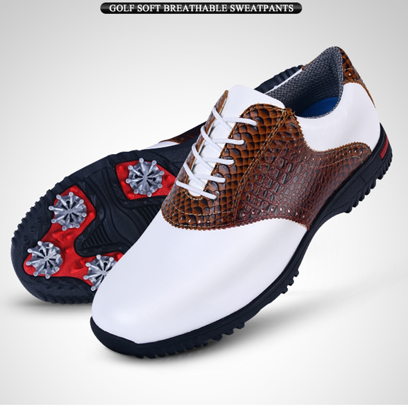 Brand PGM Genuine Leather Mens Tour 360 Boa Boost Waterproof Golf Sports Shoes Spiked Sneakers Pro Tour Steady&Waterproof XZ045 mens women golf shoes genuine leather shoes british style waterproof breathable free shipping