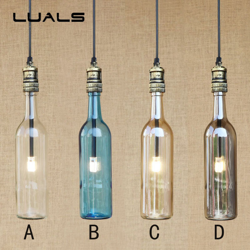Loft American Restaurant Vintage Pendant Light Creative LED Lamp Cafe Bar Pendant Lights Indoor Glass Bottle Art Deco Lighting купить