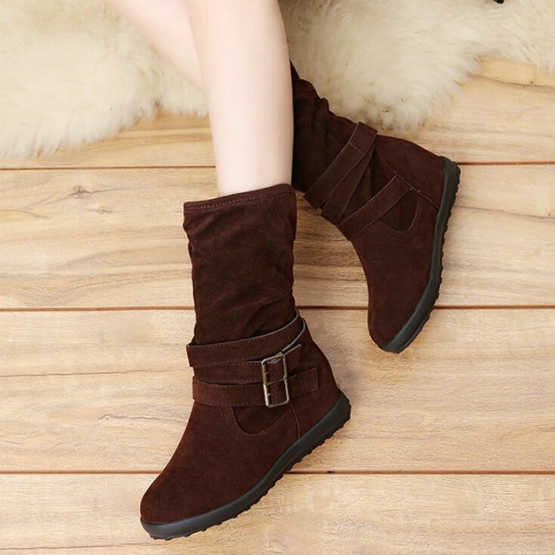 Women's Boot Womens Mid Calf Snow Boots Women Round Toe High Boots Female Winter Leather Winter Snow Boots' Women Plus Size 43 goncale high quality band snow boots women fashion genuine leather women s winter boot with black red brown ug womens boots
