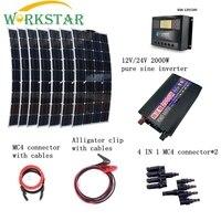 7 шт. 100 Вт солнечные панели с 50A Солнечный контроллер 2000 Вт Инвертор с быстрым подключением кабелей 700 Вт дом использование солнечной энергии
