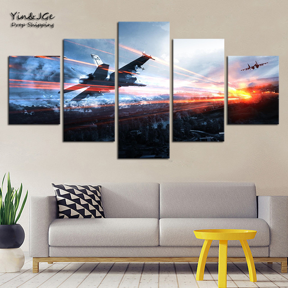 Home Decor Living Room Frame Artworks 5 Pieces Canvas Painting Game Battlefield HD Prints Abstract Poster Picture Decor Wall Art 1