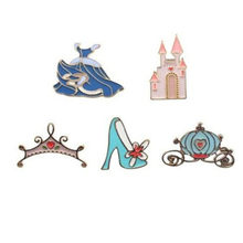 WKOUD Cinderella Enamel Brooch Crystal shoe castle pumpkin carriage dress crown Denim clothes Pin Buckle Badge Jewelry Gift(China)
