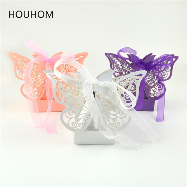 10pcs Butterfly Laser Cut Hollow Carriage Favors Box Gifts