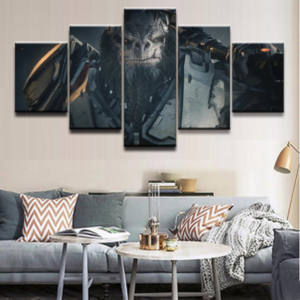 HD Printed Modular Abstract Picture Wall Art Frame 5 Pieces Game Halo Wars 2 Gorilla Role Painting On Canvas Home Decor Posters