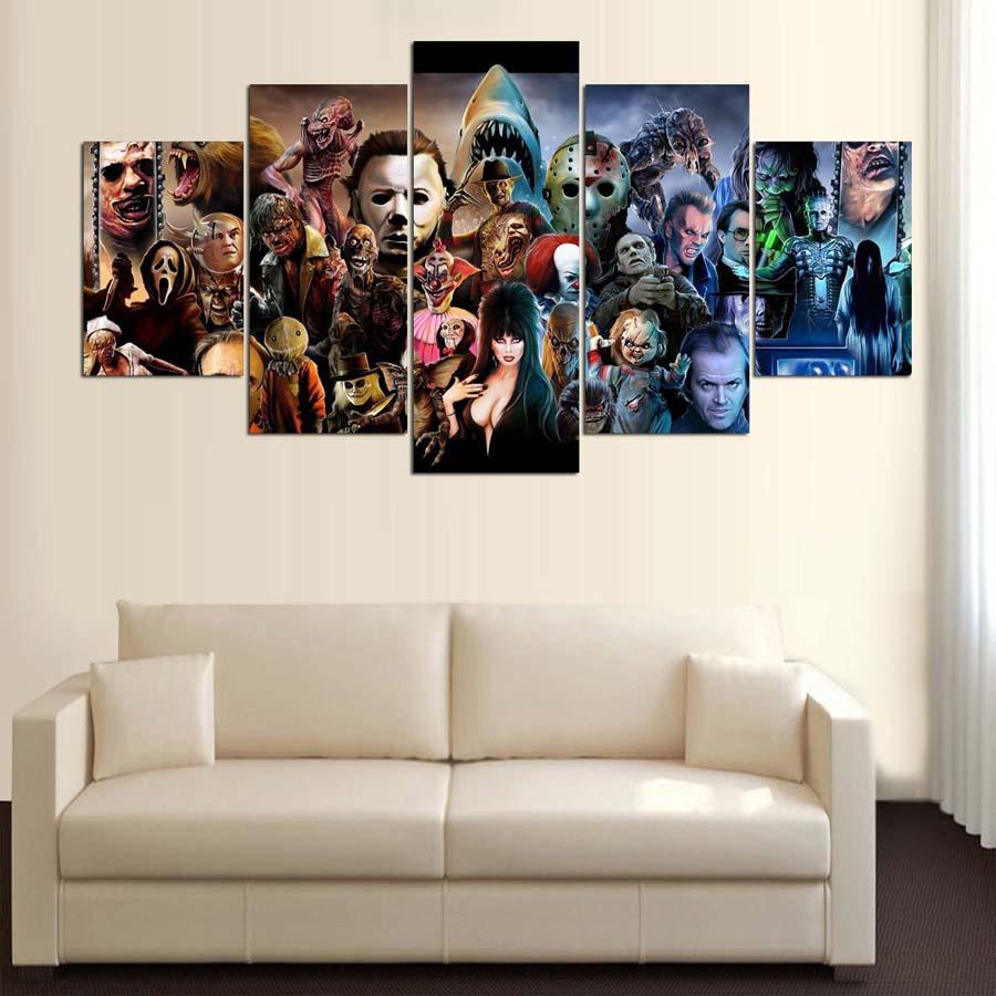 5 Stück Leinwand Gedruckt Dekoration Wandkunst Horrorfilm ...