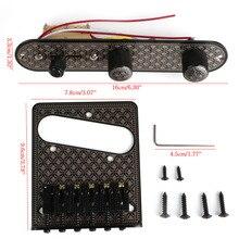 New 1 Set Guitar Bridge & 3 Way Switch Control Knob Plate Set Black Diamond Pattern