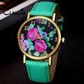 Новый Reloj Mujer КЛАУДИА Моды Vogue женщин Кожа Роуз Цветочные Печатных Аналоговый Кварцевые Наручные Часы Бесплатная Доставка Reloj Mujer