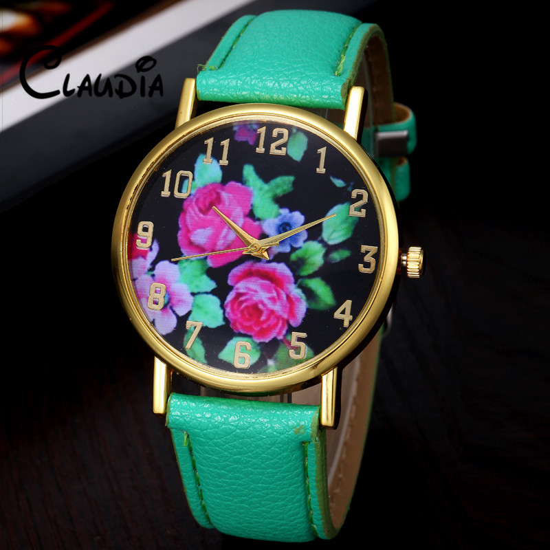 Newest Reloj Mujer CLAUDIA Fashion Vogue Women s Leather Rose Floral Printed Analog Quartz Wrist font