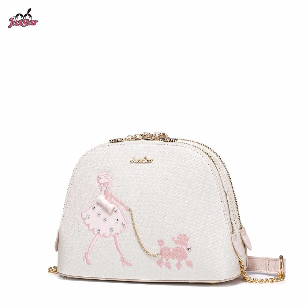 2017 Summer New Just Star Brand Design Embroidery Chains Pets PU Leather Women Girls Ladies Handbag Shoulder Shell Bags star island summer