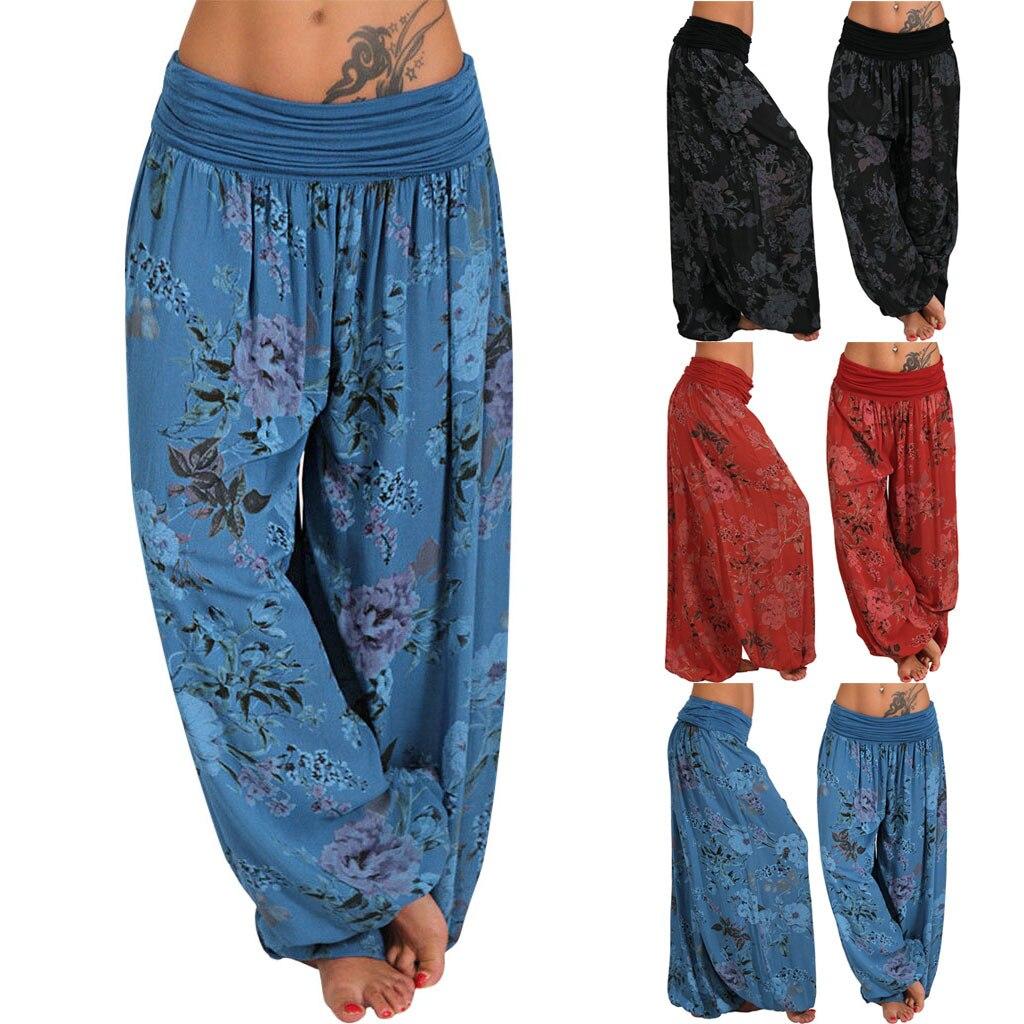 2019 Women Harem Pants Baggy Wide Leg Yoga Long Loose Casual Pure Trousers M~5XL