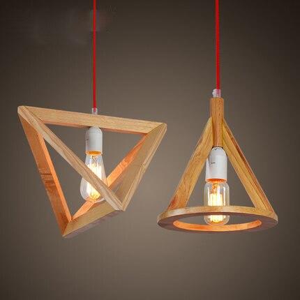 Modern rövid kreatív fa kúp Medál világítótestet otthoni deco - Beltéri világítás
